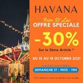🎡 OFFRE SPÉCIALE ST LUC >>  Venez profiter pendant 4 jours, 🏷 -30% sur votre 2ème article acheté en magasin*.  Ce week-end, du 15 au 18 octobre 2021, foire commerciale ainsi que tous les manèges seront présents cette année sur le Foirail !   Exceptionnellement, nous serons ouverts :  🎢 DIMANCHE 17 OCTOBRE > 9h15 - 19h !   Rendez-vous dans votre HAVANA Store et sur http://www.havanafashion.fr   📸 Catalogue AH21 x HAVANA : https://havanafashion.fr/img/cms/BOOK_AH21_HAVANA_OZE.pdf   *Offre valable sur le moins cher des deux.   #doldebretagne #dol #foiredelastluc #stluc #foire #promotion #offrespeciale